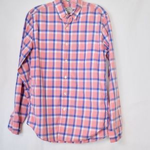 Men's J. Crew Pink Plaid Button Down Shirt S (B34)